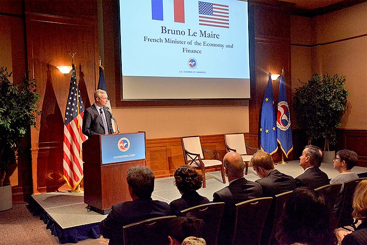 Minister for Economy and Finance Bruno Le Maire at the U.S. Chamber